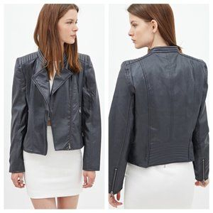 Forever 21 Dark Gray Faux Leather Moto Jacket